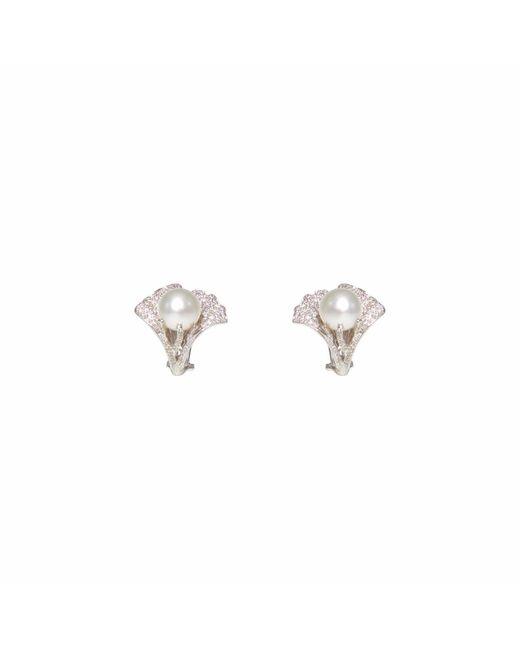 Ri Noor - Metallic Pearl & Diamond Flower Earrings - Lyst