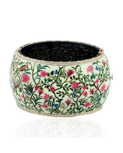Artisan Multicolor 18k Gold & Silver Hand Painted Enamel Floral Bangle With Pave Diamonds