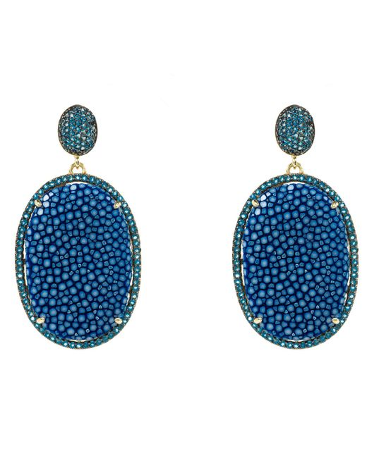 Latelita London | Stingray Pave Oval Earring Royal Blue | Lyst