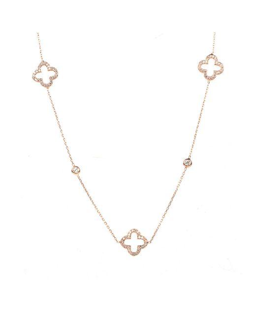 Latelita London | Metallic Open Clover Long Necklace Rosegold | Lyst