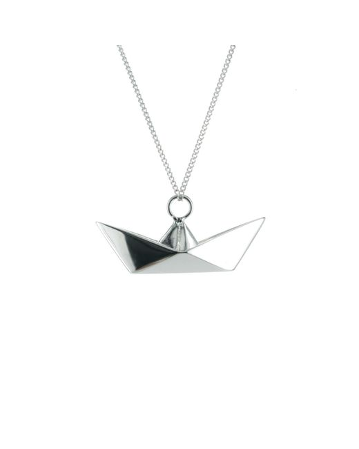 Origami Jewellery - Metallic Boat Silver Necklace - Lyst