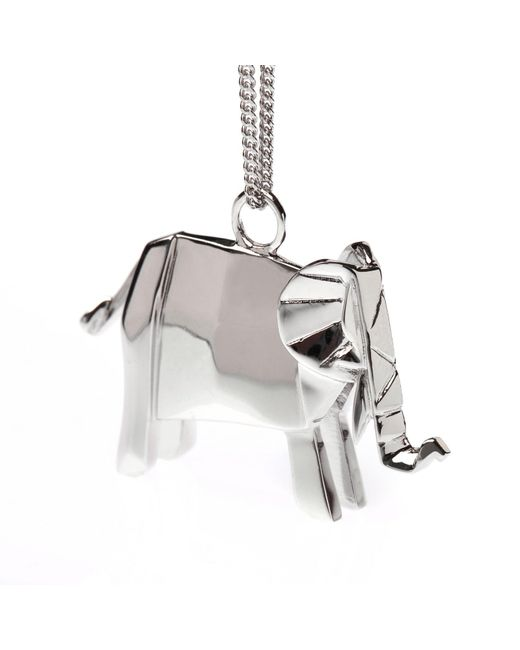 Origami Jewellery | Metallic Elephant Necklace Sterling Silver | Lyst