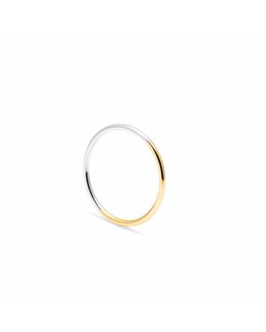 Myia Bonner - Metallic 9ct Yellow Gold & Silver Skinny Round Stacking Ring - Lyst