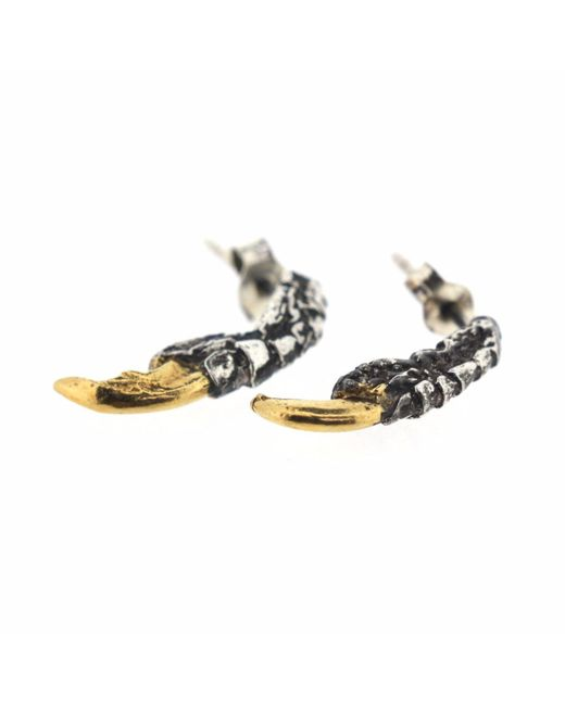 Tessa Metcalfe | Metallic Oxidised Pigeon Claw Studs With Gold Nails | Lyst