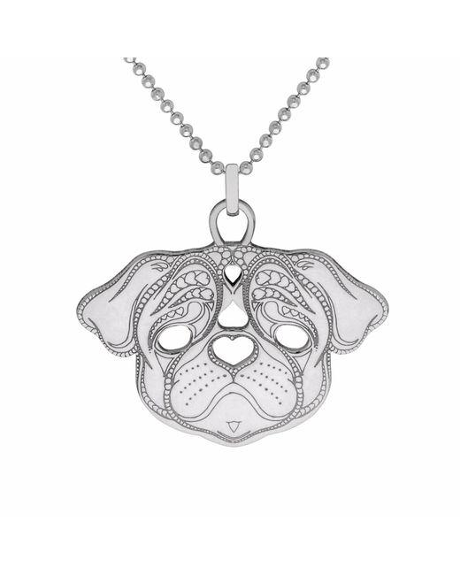 CarterGore - Metallic Silver Pug Pendant Necklace Medium - Lyst