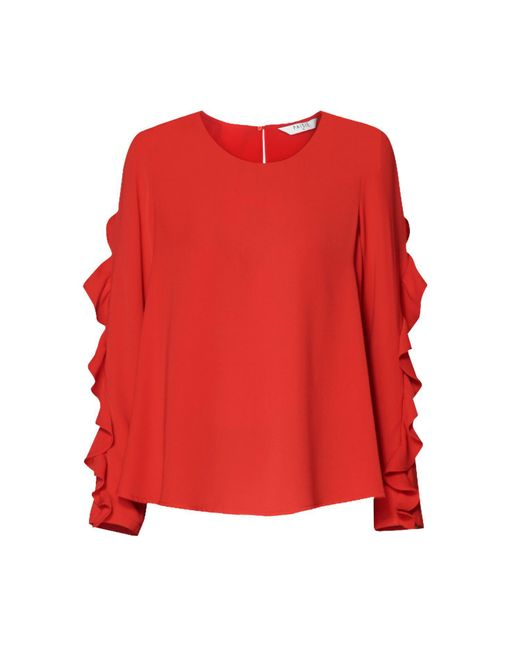 Paisie | Ruffle Sleeved Top In Red | Lyst