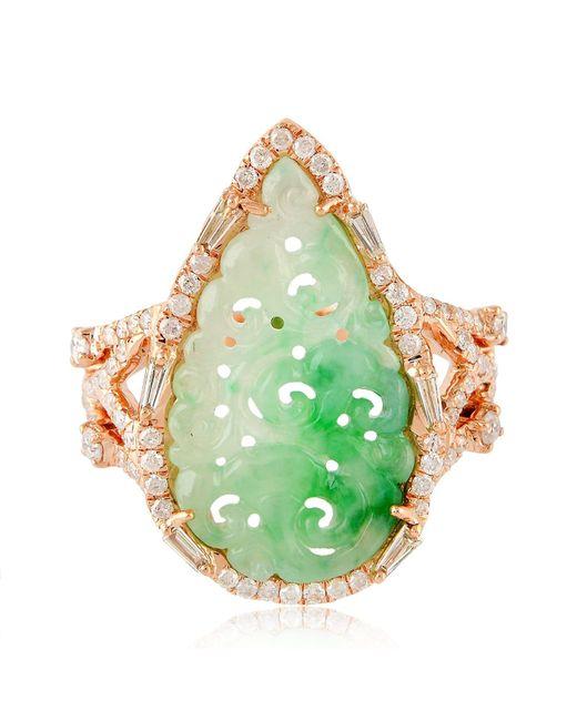 Artisan Green 18k Rose Gold Carved Jade Ring With Diamonds