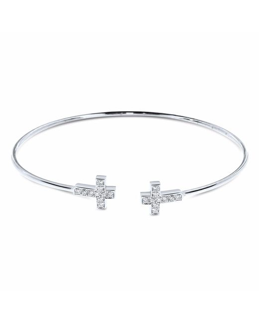 Cosanuova - Metallic Diamond Cross Bangle 18k White Gold - Lyst