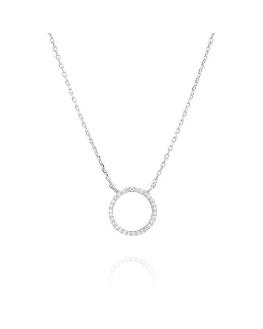 Astrid & Miyu - Metallic Tuxedo Circle Necklace In Silver - Lyst