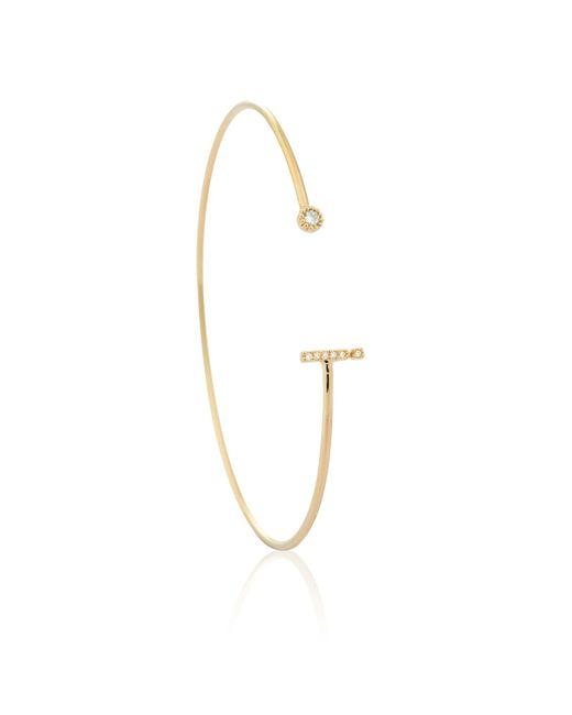 Astrid & Miyu - Metallic Gold Initial I Bangle - Lyst