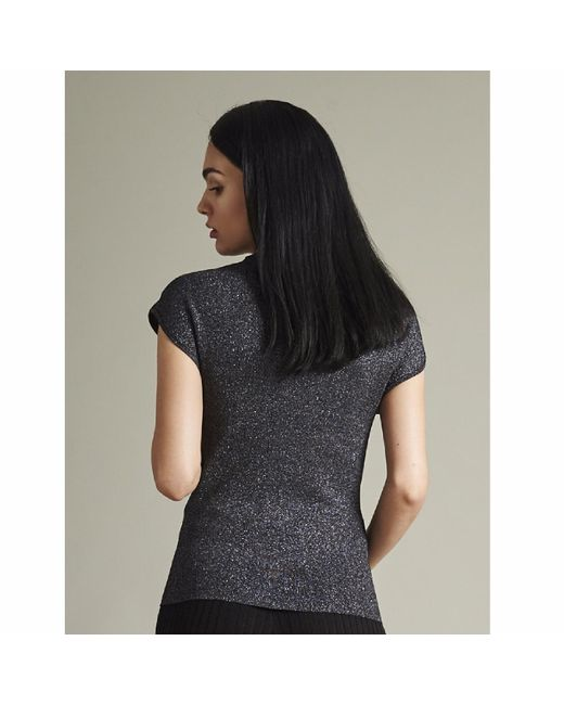 NY CHARISMA Metallic Black Silver Lurex Cap Sleeves Pullover