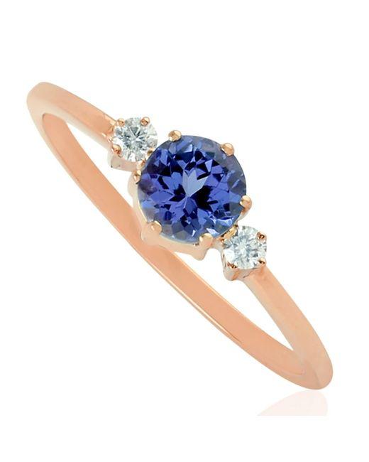 Artisan Multicolor 10k Rose Gold Natural Diamond Tanzanite Gemstone Handmade Jewelry