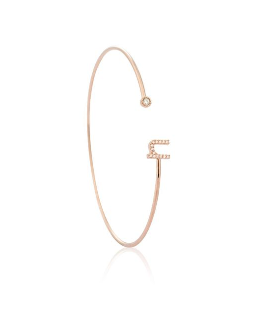 Astrid & Miyu - Multicolor Rose Gold Initial 'n' Bangle - Lyst