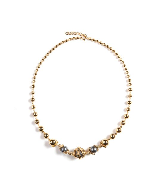 Kasun - Metallic Orb And Three Pearls Full Necklace - Lyst