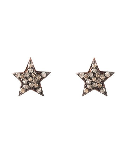 Latelita London - Metallic Diamond Star Stud Earring Rosegold - Lyst