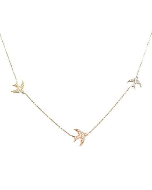 Talia Naomi - Metallic Fly Me To The Moon Pavé Necklace Gold - Lyst