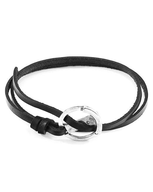 Anchor & Crew - Metallic Coal Black Ketch Anchor Silver & Flat Leather Bracelet for Men - Lyst