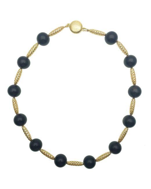 Farra Black Tiger Eyes Mesh Short Necklace
