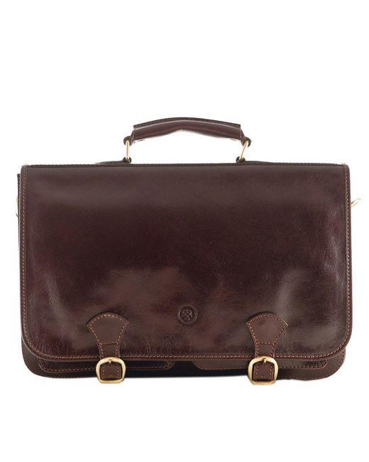 Maxwell Scott Bags | Luxury Italian Leather Men's Satchel Briefcase Jesolo Dark Chocolate Brown for Men | Lyst