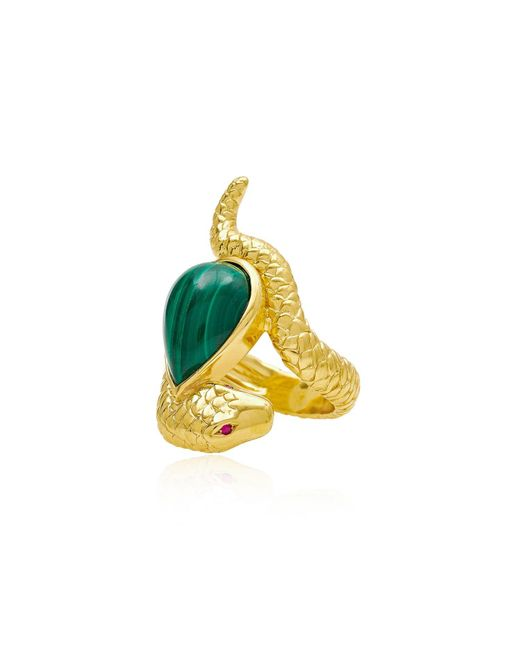 Alexandra Alberta | Metallic Arizona Malachite Ring | Lyst