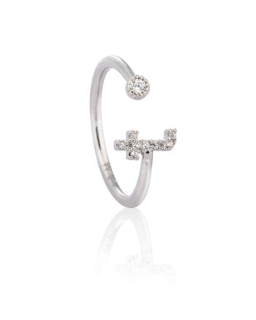 Astrid & Miyu - Metallic Silver Initial T Ring - Lyst