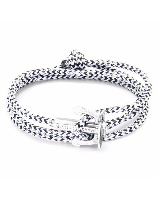 Anchor & Crew | White Noir Union Silver & Rope Bracelet for Men | Lyst