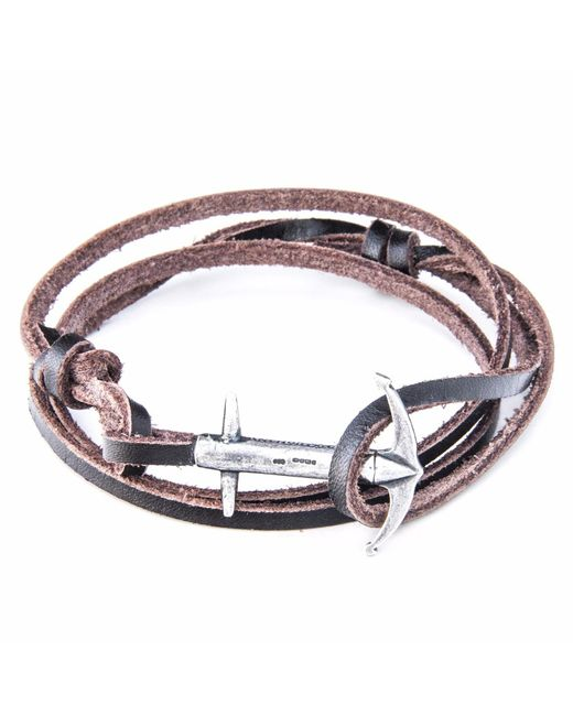 Anchor & Crew | Dark Brown Clyde Silver & Leather Bracelet for Men | Lyst