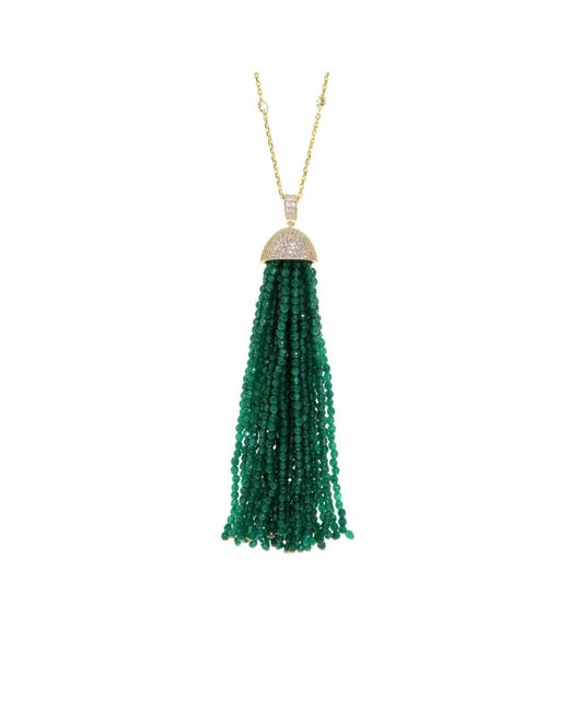 Cosanuova | Green Jade Tassel Necklace | Lyst