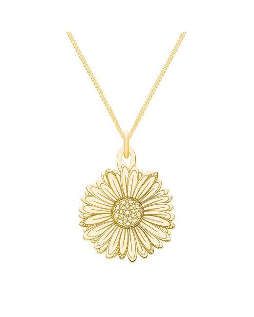 CarterGore Metallic Medium Gold Daisy Flower Pendant Necklace