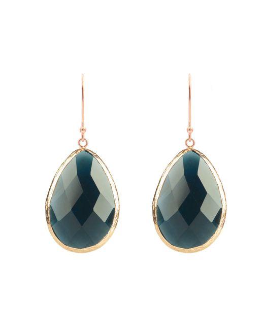 Latelita London - Blue Single Drop Earring Rosegold Sapphire Hydro - Lyst