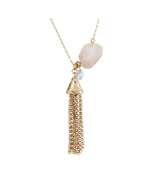 Nadia Minkoff - Metallic Yellow Gold Plated Rose Opal Nugget Necklace - Lyst
