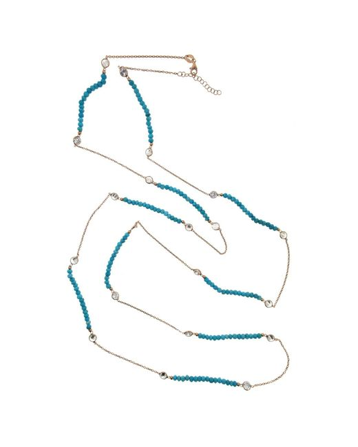 Cosanuova Metallic Long Turquoise Necklace