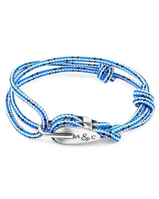 Anchor & Crew - Blue Dash Tyne Silver & Rope Bracelet for Men - Lyst