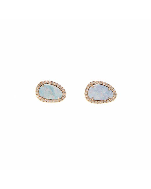 Ri Noor | Multicolor White Opal Slice & Diamond Earrings | Lyst