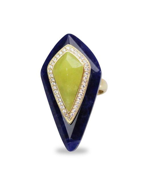 Bellus Domina - Blue Adjustable Lemon Jade Cocktail Ring - Lyst
