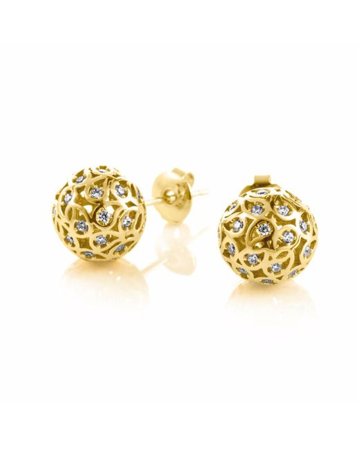 Sonal Bhaskaran | Metallic Svar Gold Sphere Earrings Clear Cz | Lyst