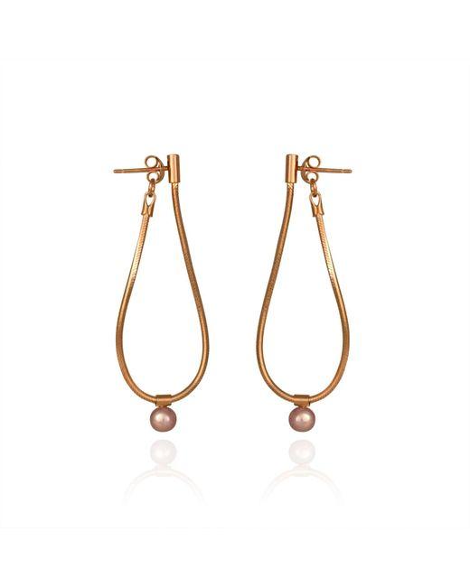Cara Tonkin | Metallic Orbit Loop Drop Earrings Rose Gold | Lyst