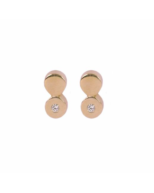Matthew Calvin - Metallic Diamond Double Dot Studs Gold - Lyst