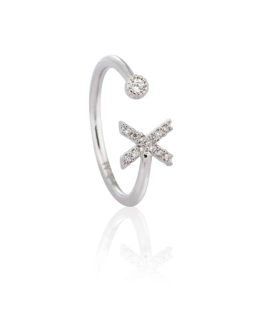 Astrid & Miyu - Metallic Silver Initial X Ring - Lyst