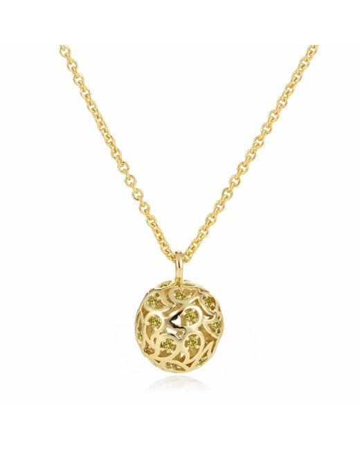 Sonal Bhaskaran | Metallic Svar Gold Sphere Necklace Yellow Cz | Lyst