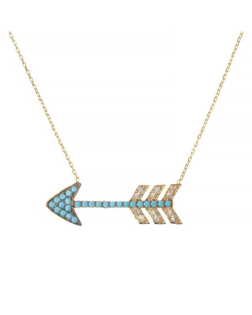 Talia Naomi | Metallic Turquoise Love Arrow Necklace | Lyst