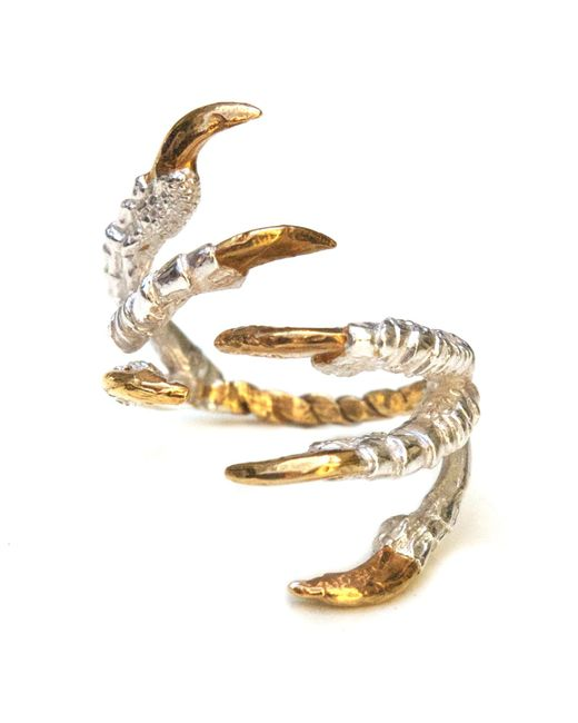 Tessa Metcalfe - Metallic Pigeon Grasp Ring With Gold Nails - Lyst