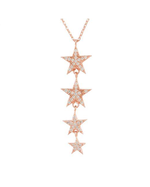 Latelita London Multicolor Graduated Star Drop Necklace Rosegold