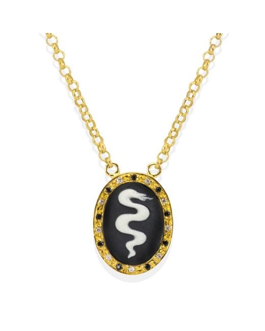 Vintouch Italy Metallic Snake Cameo Necklace