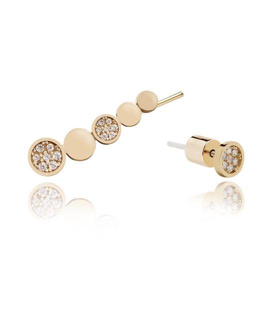 Astrid & Miyu   Metallic Black Magic Circle Earrings In Gold   Lyst