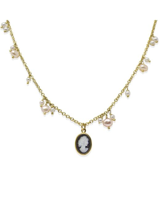 Vintouch Italy Metallic Gold-plated Dainty Pearls & Mini Cameo Necklace