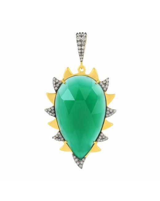 Meghna Jewels - Claw Pendant Green Onyx & Diamonds - Lyst