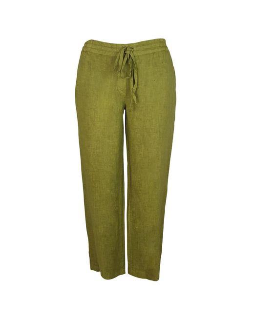 Haris Cotton Green Wide Legged Linen Pants