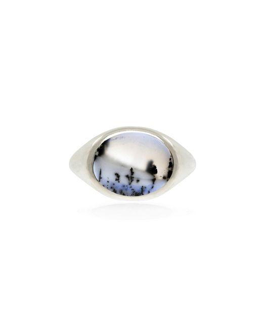 No 13 Metallic Snow Agate Horizontal Signet Ring Silver