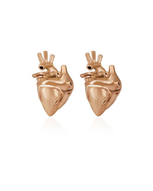 Strange Fruit - Metallic Heart Studs Rose Gold - Lyst